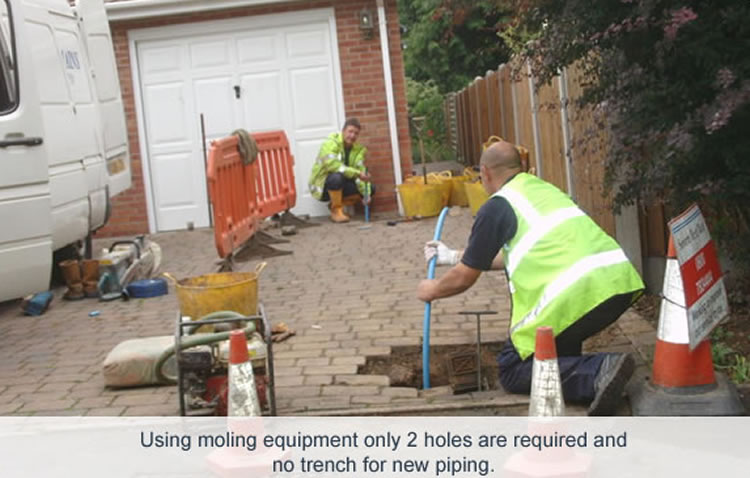 Moling For Water Mains installation