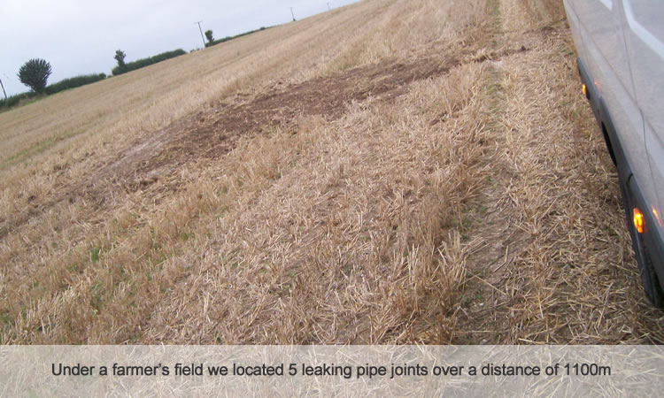 Leak detection of eater pipes in farmers field